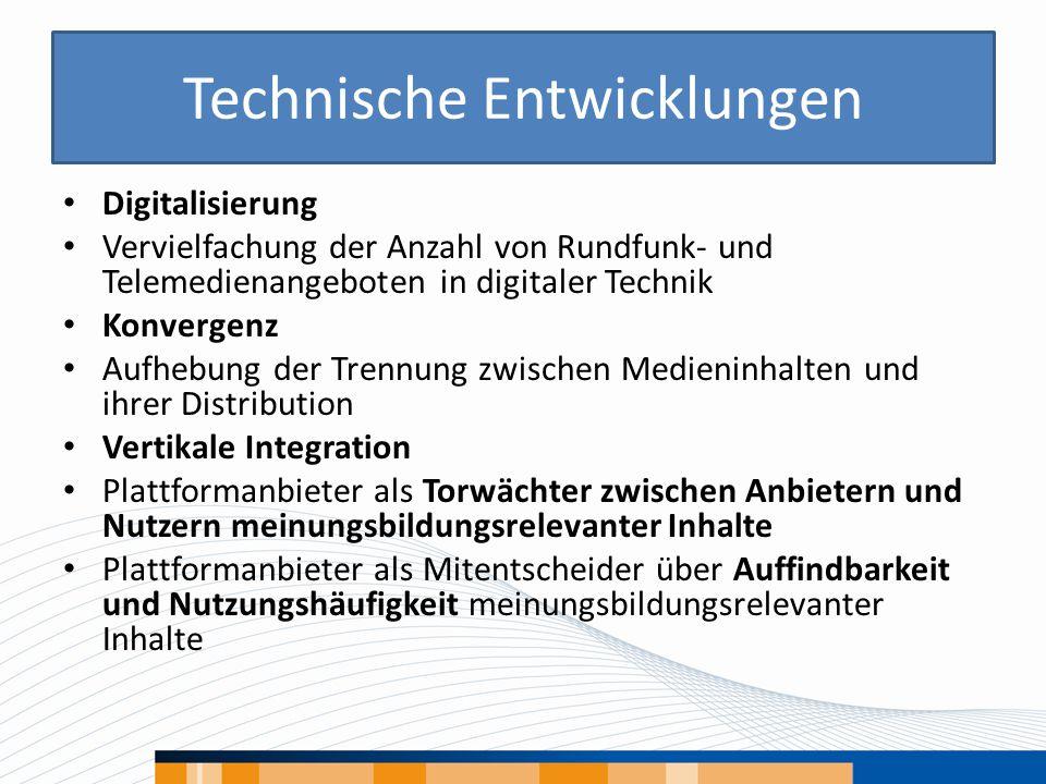 Technische Entwicklungen Digitalisierung Vervielfachung der Anzahl von Rundfunk- und Telemedienangeboten in digitaler Technik Konvergenz Aufhebung der