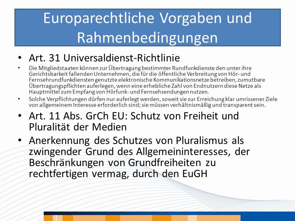 Europarechtliche Vorgaben und Rahmenbedingungen Art. 31 Universaldienst-Richtlinie Die Mitgliedstaaten können zur Übertragung bestimmter Rundfunkdiens