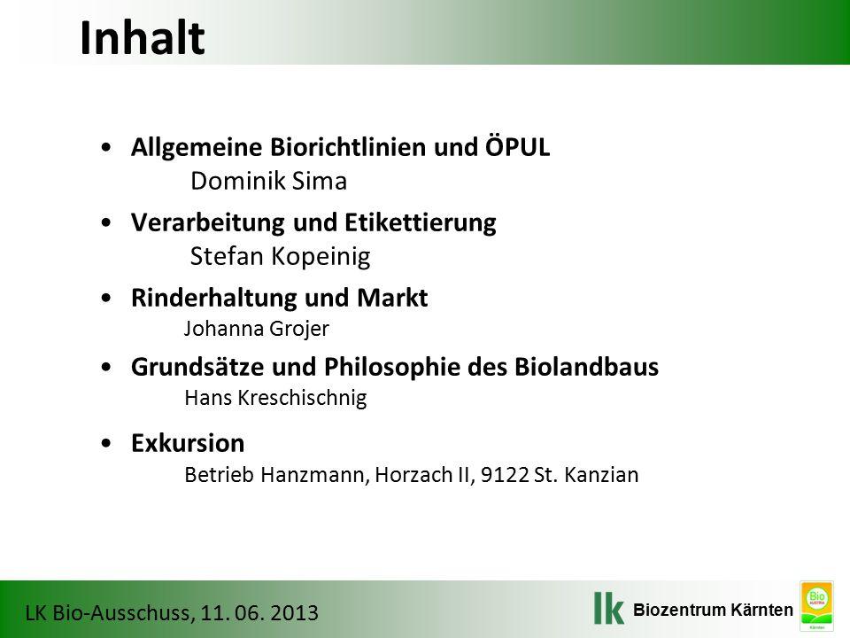 Biozentrum Kärnten LK Bio-Ausschuss, 11. 06. 2013 Berechnung der Umstellungszeit