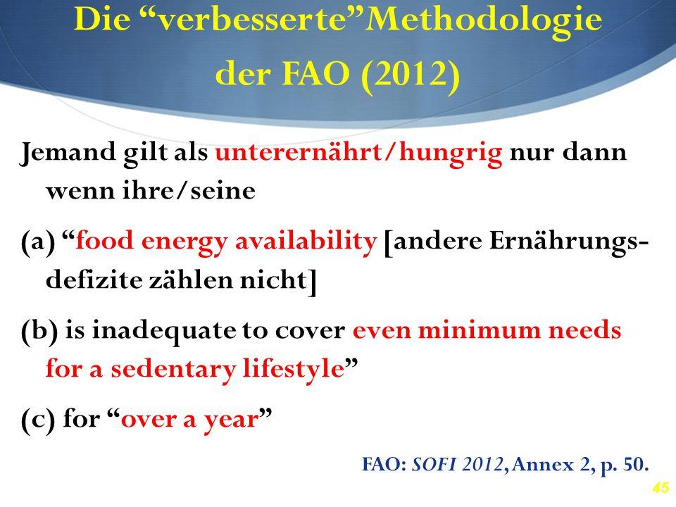 """45 Die """"verbesserte""""Methodologie der FAO (2012) Jemand gilt als unterernährt/hungrig nur dann wenn ihre/seine (a) """"food energy availability [andere Er"""