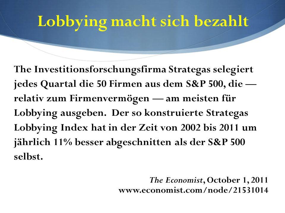 Lobbying macht sich bezahlt The Investitionsforschungsfirma Strategas selegiert jedes Quartal die 50 Firmen aus dem S&P 500, die — relativ zum Firmenv