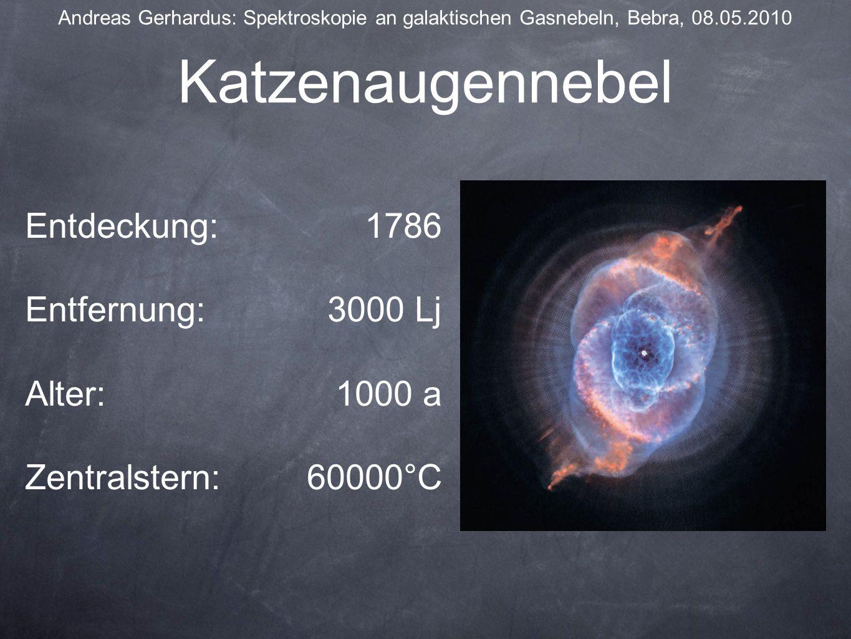 Katzenaugennebel Andreas Gerhardus: Spektroskopie an galaktischen Gasnebeln, Bebra, 08.05.2010 Entdeckung: Entfernung: Alter: Zentralstern: 1786 3000 Lj 1000 a 60000°C
