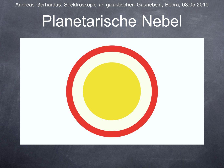 Bildnachweise Andreas Gerhardus: Spektroskopie an galaktischen Gasnebeln, Bebra, 08.05.2010 Großer Orionnebel: http://www.himmel-und-erde.com/Orionnebel-M42.jpghttp://www.himmel-und-erde.com/Orionnebel-M42.jpg Hantelnebel: http://www.martin-wagner.org/M27-Hantelnebel.jpg Katzenaugennebel: http://ais.badische-zeitung.deKatzenaugennebel: http://ais.badische-zeitung.de/piece/00/62/55/dc/6444508.jpg Ringnebel: http://www.plani.ch/presse/Leiernebel.jpge/Leiernebel.jpg Fragezeichen: http://www.infekt-online.de/pFragezeichen: http://www.infekt-online.de/patienten/infektionen/fragezeichen.jpg Alle anderen Bilder und Diagramme sind entweder eigene Konstruktionen oder in den zuvor angegebenen Informationsquellen zu finden.