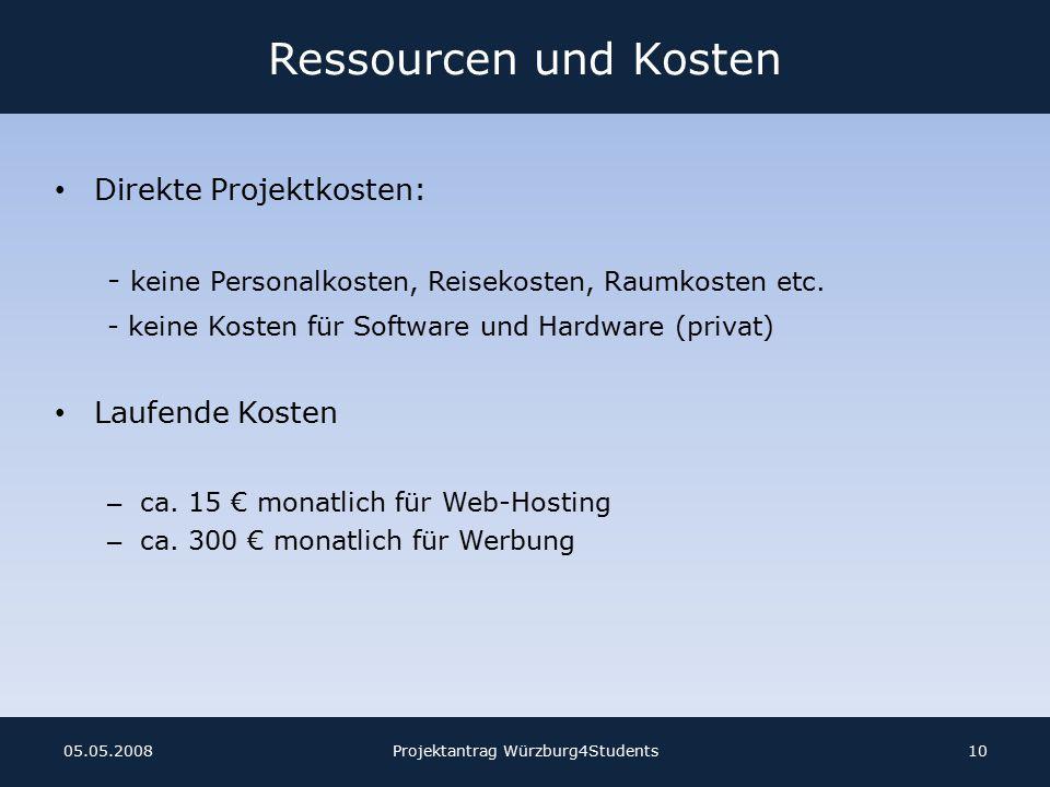 Ressourcen und Kosten Direkte Projektkosten: - keine Personalkosten, Reisekosten, Raumkosten etc.