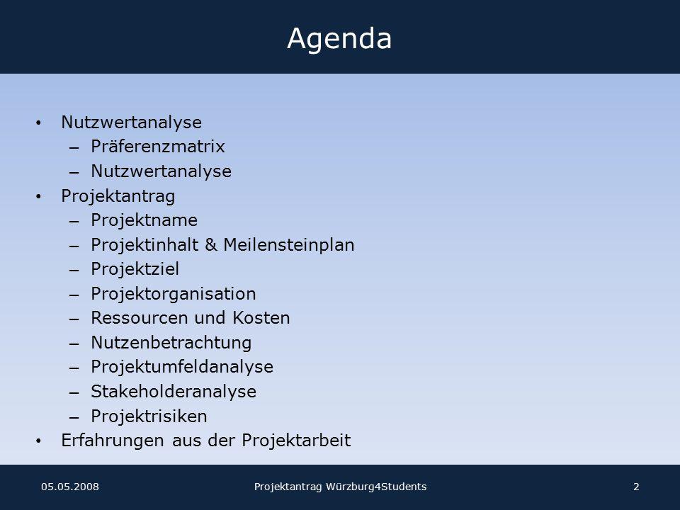 Stakeholderanalyse Projektantrag Würzburg4Students1305.05.2008