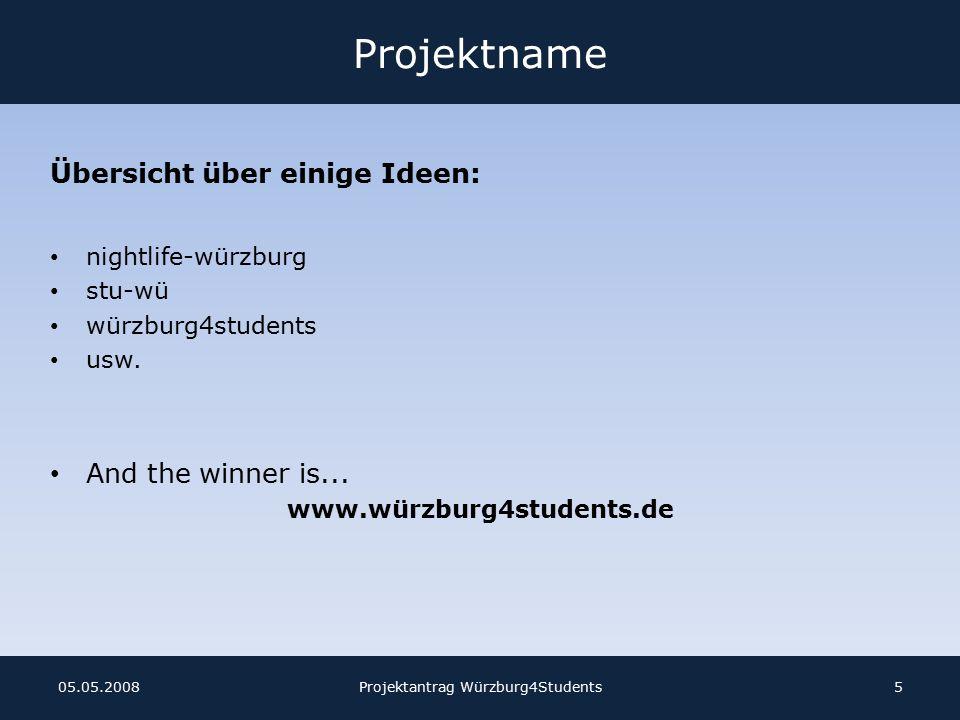 Erfahrungen aus der Projektarbeit Kommunikation untereinander ist sehr wichtig Terminfindung ist sehr schwer Zeitintensiv Namensfindung für Produkt nicht leicht Projektantrag Würzburg4Students1605.05.2008