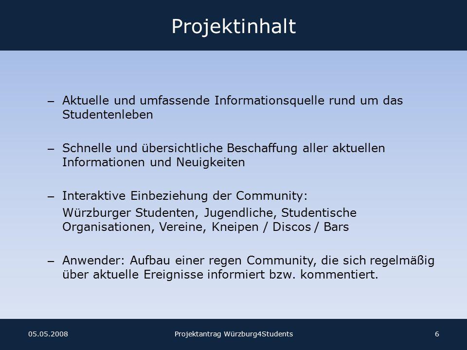 Projektantrag Würzburg4Students1705.05.2008