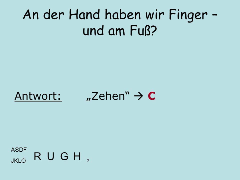 """An der Hand haben wir Finger – und am Fuß? Antwort:""""Zehen""""  C ASDF JKLÖ RUGH,"""