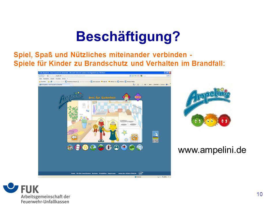 10 Beschäftigung? Spiel, Spaß und Nützliches miteinander verbinden - Spiele für Kinder zu Brandschutz und Verhalten im Brandfall: www.ampelini.de