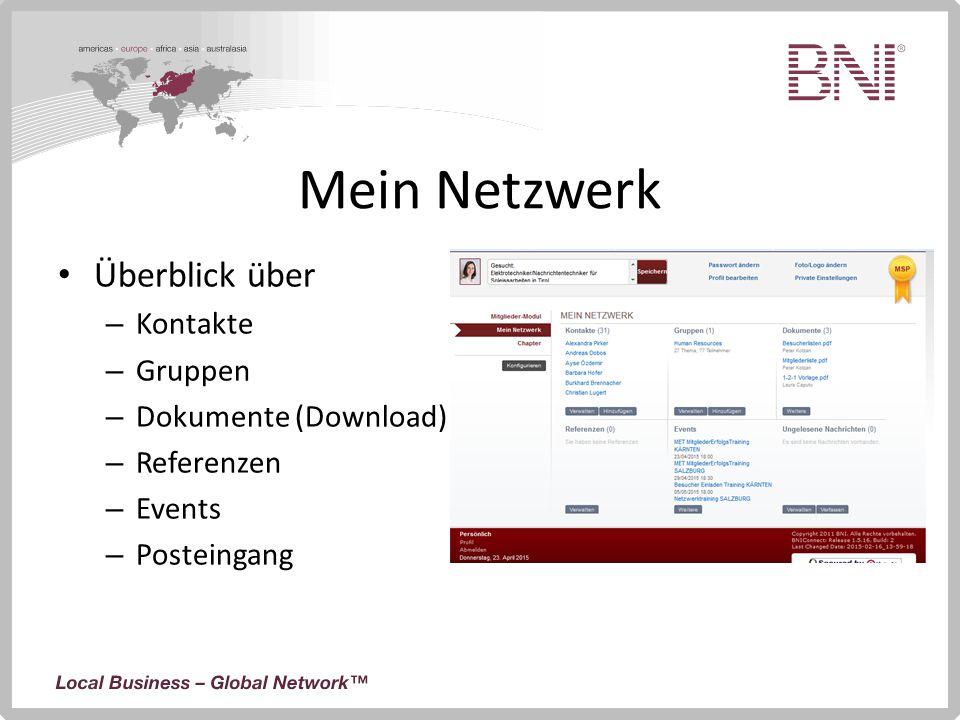 Mein Netzwerk Überblick über – Kontakte – Gruppen – Dokumente (Download) – Referenzen – Events – Posteingang