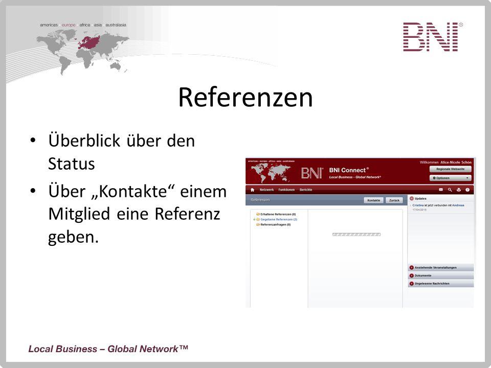 """Referenzen Überblick über den Status Über """"Kontakte"""" einem Mitglied eine Referenz geben."""