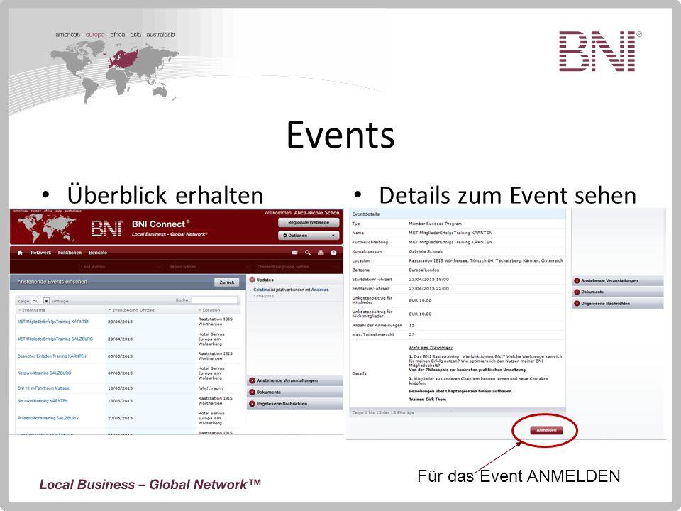 Events Überblick erhalten Details zum Event sehen Für das Event ANMELDEN