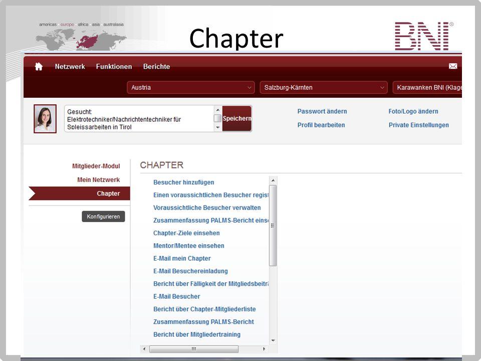 Chapter Zusatzfunktionen Einsehen PALMS Bericht des Chapters Trainingsstatus der Mitglieder Traffic Lights U.v.m.
