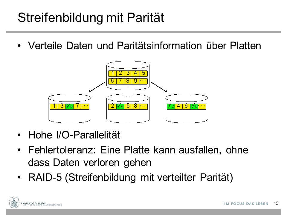 Streifenbildung mit Parität Verteile Daten und Paritätsinformation über Platten Hohe I/O-Parallelität Fehlertoleranz: Eine Platte kann ausfallen, ohne dass Daten verloren gehen RAID-5 (Streifenbildung mit verteilter Parität) 15