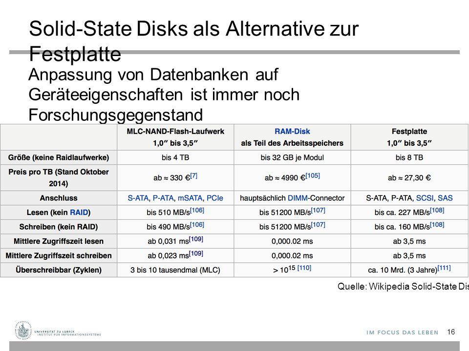 Solid-State Disks als Alternative zur Festplatte Anpassung von Datenbanken auf Geräteeigenschaften ist immer noch Forschungsgegenstand 16 Quelle: Wikipedia Solid-State Disk