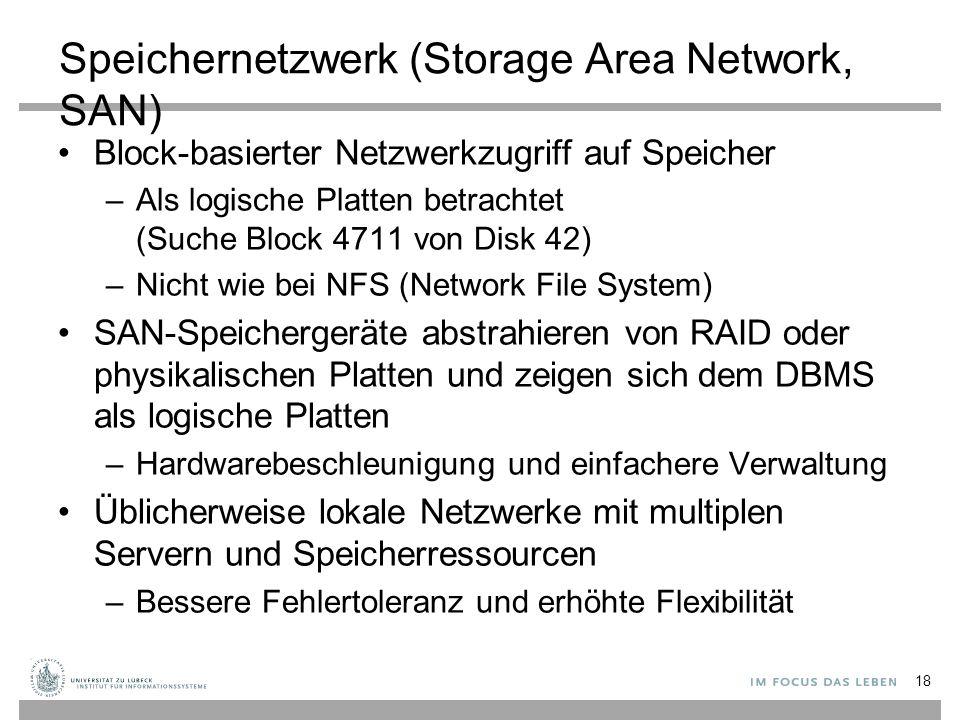 Speichernetzwerk (Storage Area Network, SAN) Block-basierter Netzwerkzugriff auf Speicher –Als logische Platten betrachtet (Suche Block 4711 von Disk 42) –Nicht wie bei NFS (Network File System) SAN-Speichergeräte abstrahieren von RAID oder physikalischen Platten und zeigen sich dem DBMS als logische Platten –Hardwarebeschleunigung und einfachere Verwaltung Üblicherweise lokale Netzwerke mit multiplen Servern und Speicherressourcen –Bessere Fehlertoleranz und erhöhte Flexibilität 18