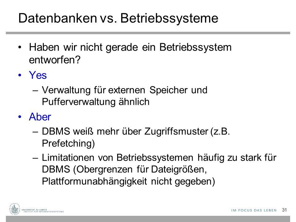 Datenbanken vs.Betriebssysteme Haben wir nicht gerade ein Betriebssystem entworfen.