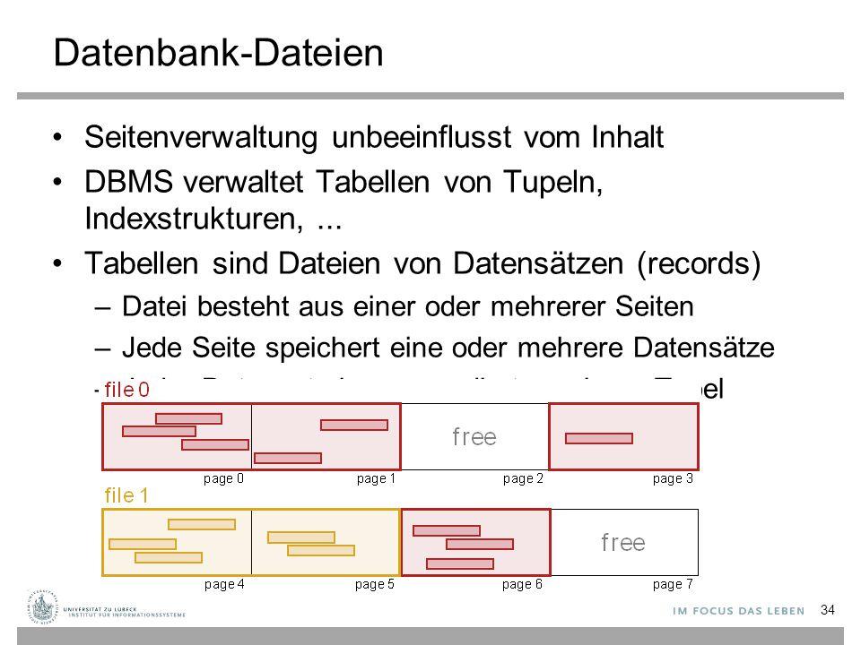 Datenbank-Dateien Seitenverwaltung unbeeinflusst vom Inhalt DBMS verwaltet Tabellen von Tupeln, Indexstrukturen,...