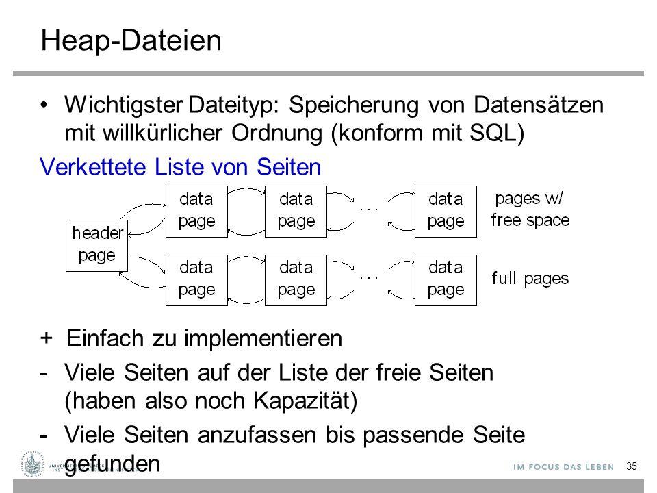 Heap-Dateien Wichtigster Dateityp: Speicherung von Datensätzen mit willkürlicher Ordnung (konform mit SQL) Verkettete Liste von Seiten + Einfach zu implementieren -Viele Seiten auf der Liste der freie Seiten (haben also noch Kapazität) -Viele Seiten anzufassen bis passende Seite gefunden 35