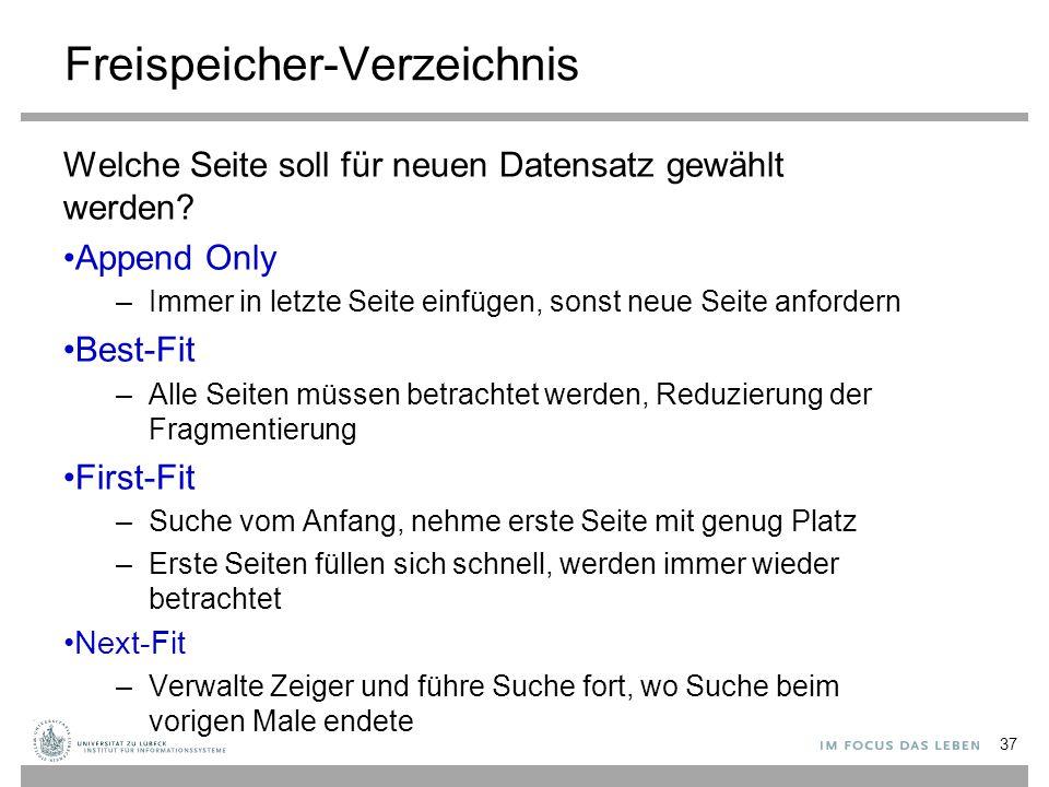 Freispeicher-Verzeichnis Welche Seite soll für neuen Datensatz gewählt werden.