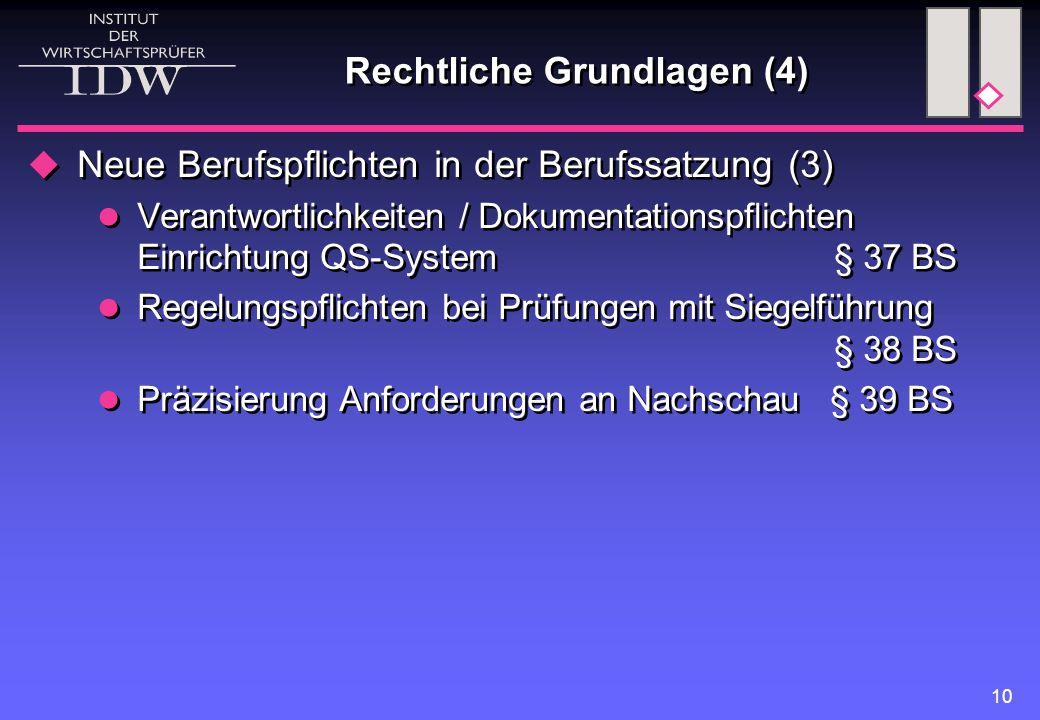 10 Rechtliche Grundlagen (4)  Neue Berufspflichten in der Berufssatzung (3) Verantwortlichkeiten / Dokumentationspflichten Einrichtung QS-System § 37