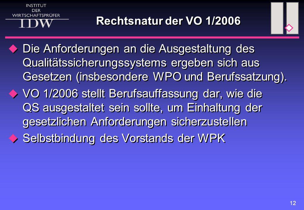 12 Rechtsnatur der VO 1/2006  Die Anforderungen an die Ausgestaltung des Qualitätssicherungssystems ergeben sich aus Gesetzen (insbesondere WPO und Berufssatzung).