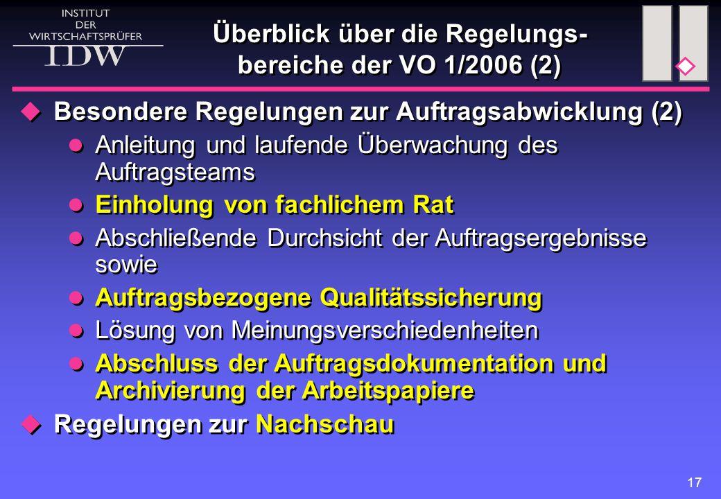 17 Überblick über die Regelungs- bereiche der VO 1/2006 (2)  Besondere Regelungen zur Auftragsabwicklung (2) Anleitung und laufende Überwachung des Auftragsteams Einholung von fachlichem Rat Abschließende Durchsicht der Auftragsergebnisse sowie Auftragsbezogene Qualitätssicherung Lösung von Meinungsverschiedenheiten Abschluss der Auftragsdokumentation und Archivierung der Arbeitspapiere  Regelungen zur Nachschau  Besondere Regelungen zur Auftragsabwicklung (2) Anleitung und laufende Überwachung des Auftragsteams Einholung von fachlichem Rat Abschließende Durchsicht der Auftragsergebnisse sowie Auftragsbezogene Qualitätssicherung Lösung von Meinungsverschiedenheiten Abschluss der Auftragsdokumentation und Archivierung der Arbeitspapiere  Regelungen zur Nachschau