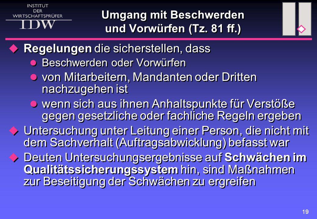 19 Umgang mit Beschwerden und Vorwürfen (Tz.