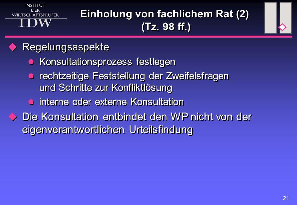 21 Einholung von fachlichem Rat (2) (Tz. 98 ff.)  Regelungsaspekte Konsultationsprozess festlegen rechtzeitige Feststellung der Zweifelsfragen und Sc