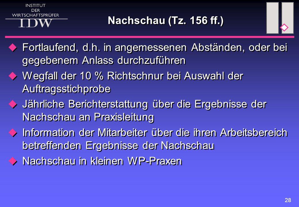 28 Nachschau (Tz. 156 ff.)  Fortlaufend, d.h. in angemessenen Abständen, oder bei gegebenem Anlass durchzuführen  Wegfall der 10 % Richtschnur bei A