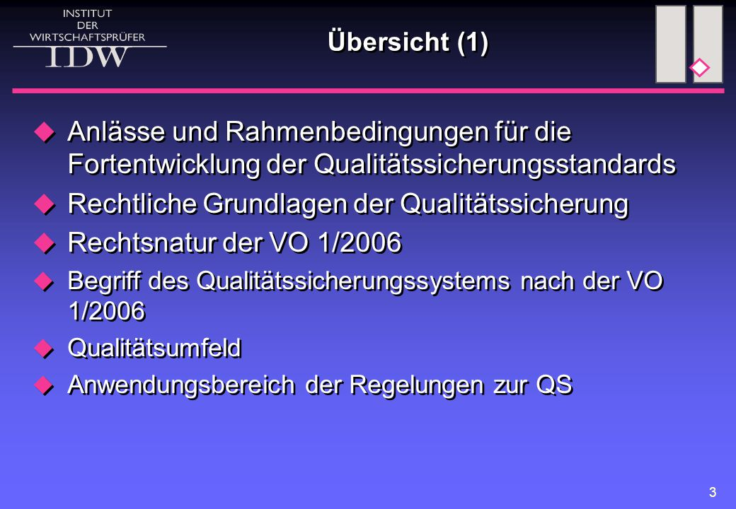 3 Übersicht (1)  Anlässe und Rahmenbedingungen für die Fortentwicklung der Qualitätssicherungsstandards  Rechtliche Grundlagen der Qualitätssicherung  Rechtsnatur der VO 1/2006  Begriff des Qualitätssicherungssystems nach der VO 1/2006  Qualitätsumfeld  Anwendungsbereich der Regelungen zur QS  Anlässe und Rahmenbedingungen für die Fortentwicklung der Qualitätssicherungsstandards  Rechtliche Grundlagen der Qualitätssicherung  Rechtsnatur der VO 1/2006  Begriff des Qualitätssicherungssystems nach der VO 1/2006  Qualitätsumfeld  Anwendungsbereich der Regelungen zur QS