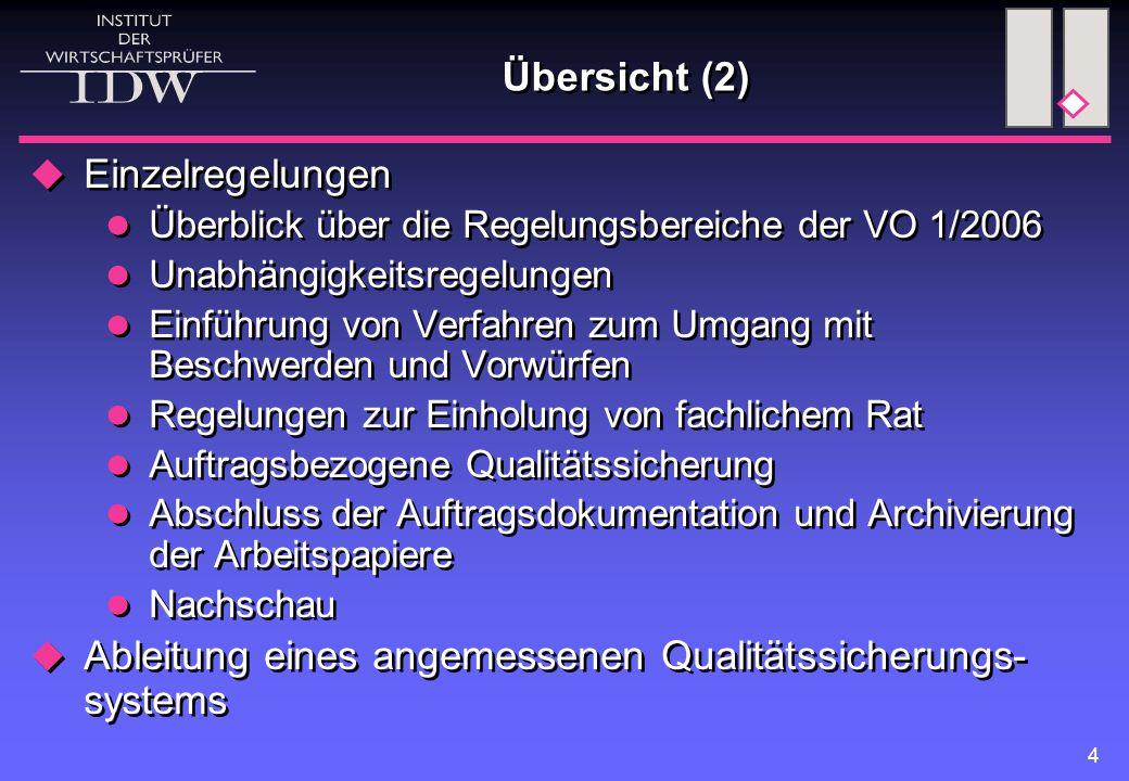 4 Übersicht (2)  Einzelregelungen Überblick über die Regelungsbereiche der VO 1/2006 Unabhängigkeitsregelungen Einführung von Verfahren zum Umgang mi
