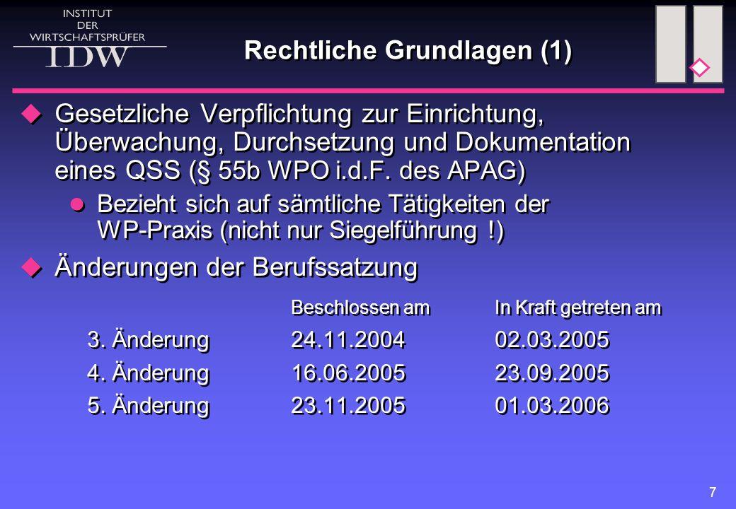 7 Rechtliche Grundlagen (1)  Gesetzliche Verpflichtung zur Einrichtung, Überwachung, Durchsetzung und Dokumentation eines QSS ( § 55b WPO i.d.F.