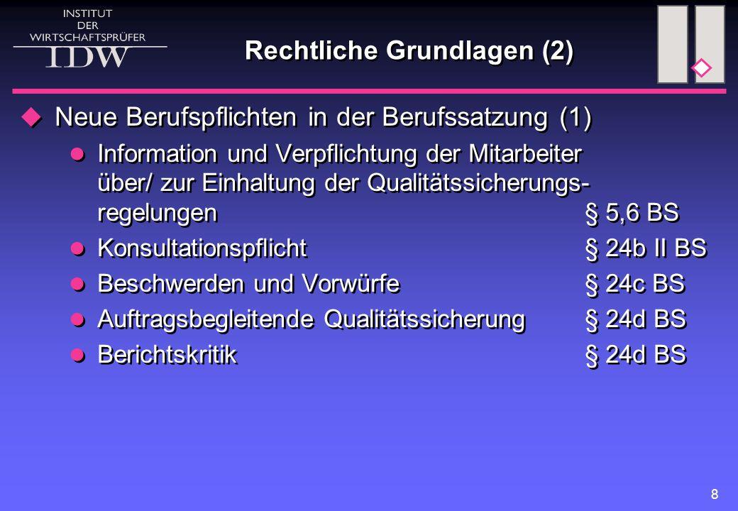 8 Rechtliche Grundlagen (2)  Neue Berufspflichten in der Berufssatzung (1) Information und Verpflichtung der Mitarbeiter über/ zur Einhaltung der Qualitätssicherungs- regelungen § 5,6 BS Konsultationspflicht § 24b II BS Beschwerden und Vorwürfe § 24c BS Auftragsbegleitende Qualitätssicherung § 24d BS Berichtskritik § 24d BS  Neue Berufspflichten in der Berufssatzung (1) Information und Verpflichtung der Mitarbeiter über/ zur Einhaltung der Qualitätssicherungs- regelungen § 5,6 BS Konsultationspflicht § 24b II BS Beschwerden und Vorwürfe § 24c BS Auftragsbegleitende Qualitätssicherung § 24d BS Berichtskritik § 24d BS