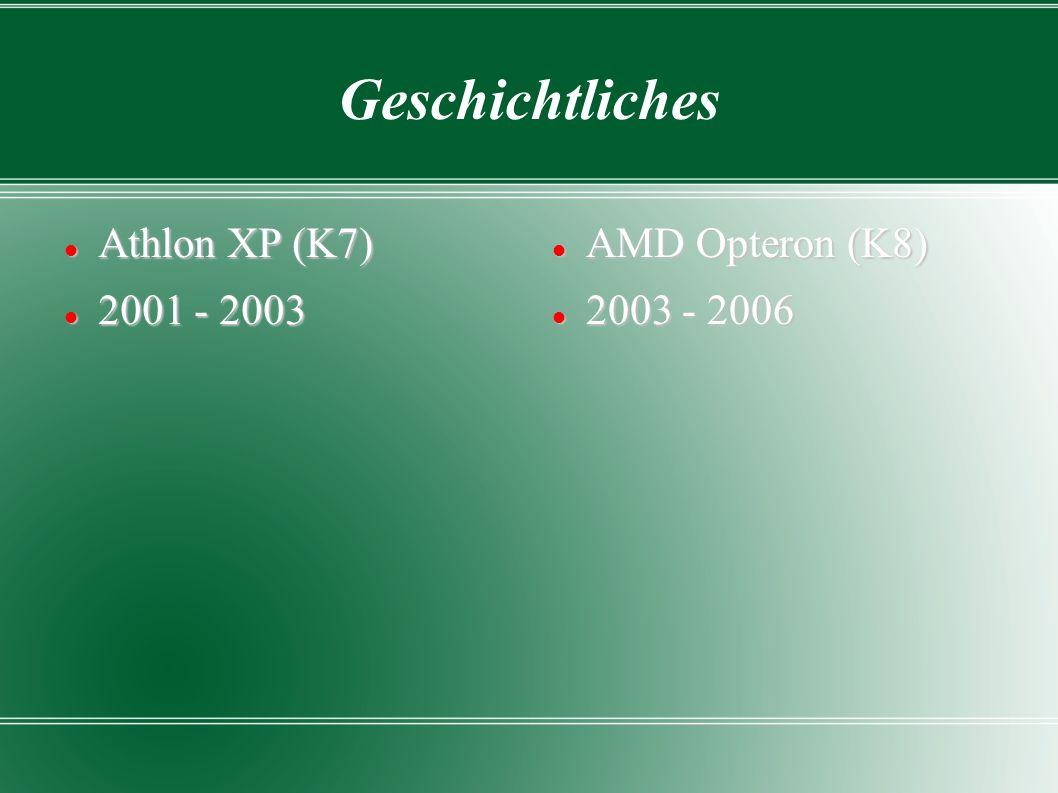 Geschichtliches Athlon XP (K7) Athlon XP (K7) 2001 - 2003 2001 - 2003 AMD Opteron (K8) AMD Opteron (K8) 2003 - 2006 2003 - 2006