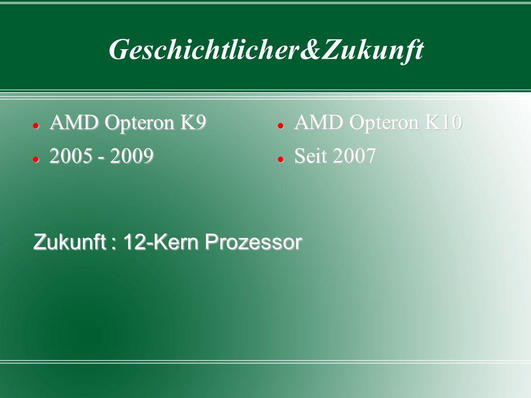 AMD Opteron K9 AMD Opteron K9 2005 - 2009 2005 - 2009 AMD Opteron K10 AMD Opteron K10 Seit 2007 Seit 2007 Zukunft : 12-Kern Prozessor Geschichtlicher&Zukunft