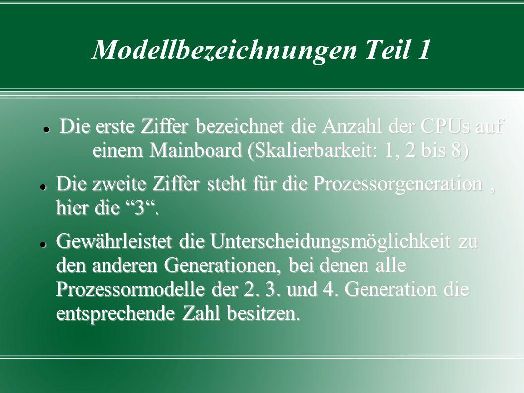 Modellbezeichnungen Teil 2 Die beiden letzten Ziffern erklärt den Prozessortakt der CPU Beispiele : Opteron 8347: Vierkernprozessor der dritten Generation für Systeme mit bis acht Prozessoren, 1900 MHz Taktfrequenz