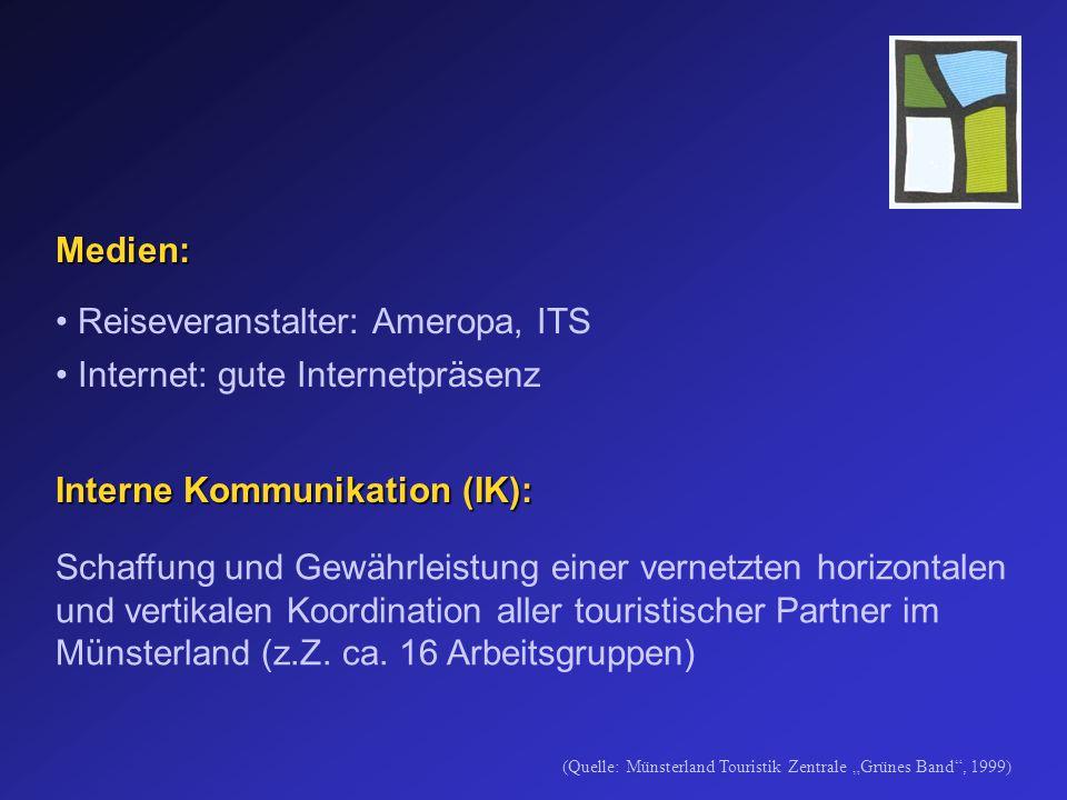 Medien: Reiseveranstalter: Ameropa, ITS Internet: gute Internetpräsenz Interne Kommunikation (IK): Schaffung und Gewährleistung einer vernetzten horizontalen und vertikalen Koordination aller touristischer Partner im Münsterland (z.Z.