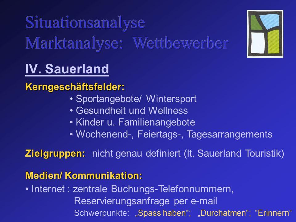 Zielgruppen: IV. Sauerland Sportangebote/ Wintersport Gesundheit und Wellness Kinder u.