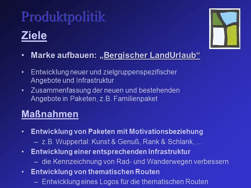 """Ziele Marke aufbauen: """"Bergischer LandUrlaub Marke aufbauen: """"Bergischer LandUrlaub Entwicklung neuer und zielgruppenspezifischer Angebote und Infrastruktur Zusammenfassung der neuen und bestehenden Angebote in Paketen, z.B."""