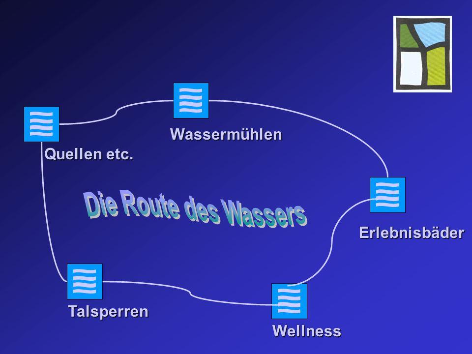 Quellen etc. Wellness Erlebnisbäder Talsperren Wassermühlen