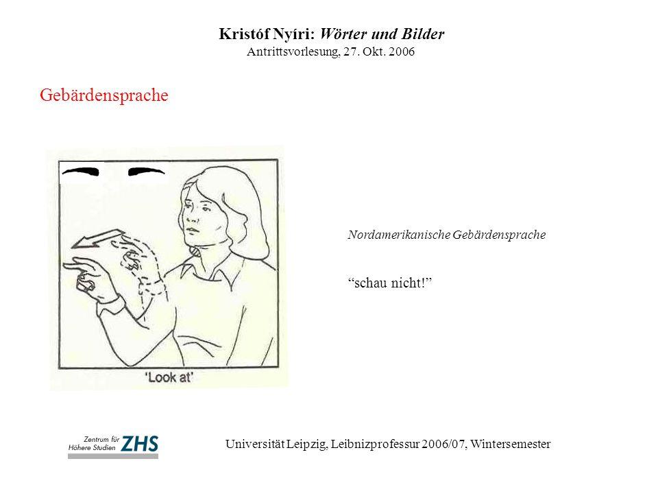 Kristóf Nyíri: Wörter und Bilder Antrittsvorlesung, 27.