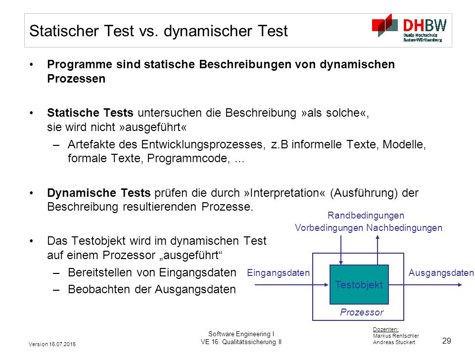 29 Dozenten: Markus Rentschler Andreas Stuckert Version 16.07.2015 Software Engineering I VE 16: Qualitätssicherung II Statischer Test vs. dynamischer