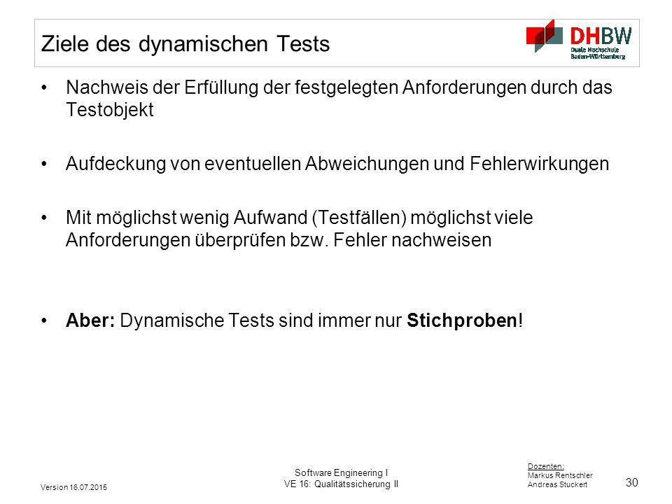30 Dozenten: Markus Rentschler Andreas Stuckert Version 16.07.2015 Software Engineering I VE 16: Qualitätssicherung II Ziele des dynamischen Tests Nac