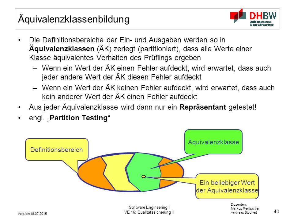 40 Dozenten: Markus Rentschler Andreas Stuckert Version 16.07.2015 Software Engineering I VE 16: Qualitätssicherung II Äquivalenzklassenbildung Die De