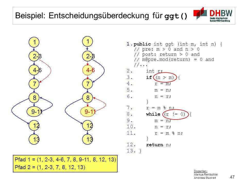 47 Dozenten: Markus Rentschler Andreas Stuckert Beispiel: Entscheidungsüberdeckung für ggt() 1 2-3 4-6 7 9-11 12 13 8 1. public int ggt (int m, int n)
