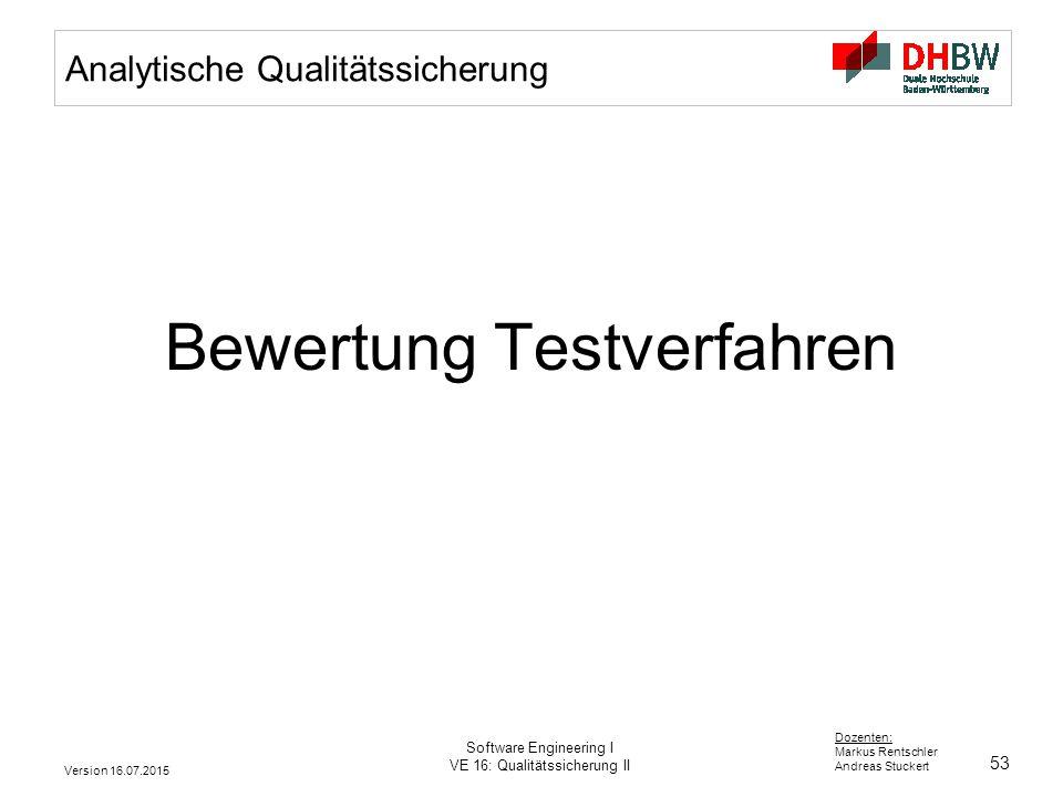 53 Dozenten: Markus Rentschler Andreas Stuckert Version 16.07.2015 Software Engineering I VE 16: Qualitätssicherung II Analytische Qualitätssicherung
