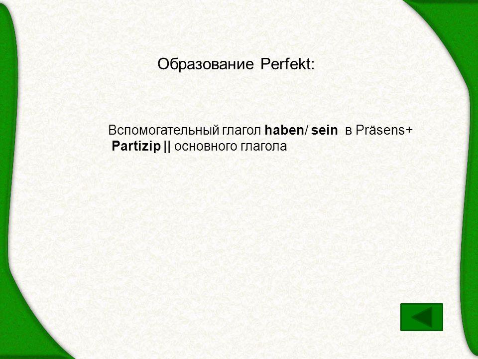 Образование Perfekt: Вспомогательный глагол haben/ sein в Präsens+ Partizip || основного глагола