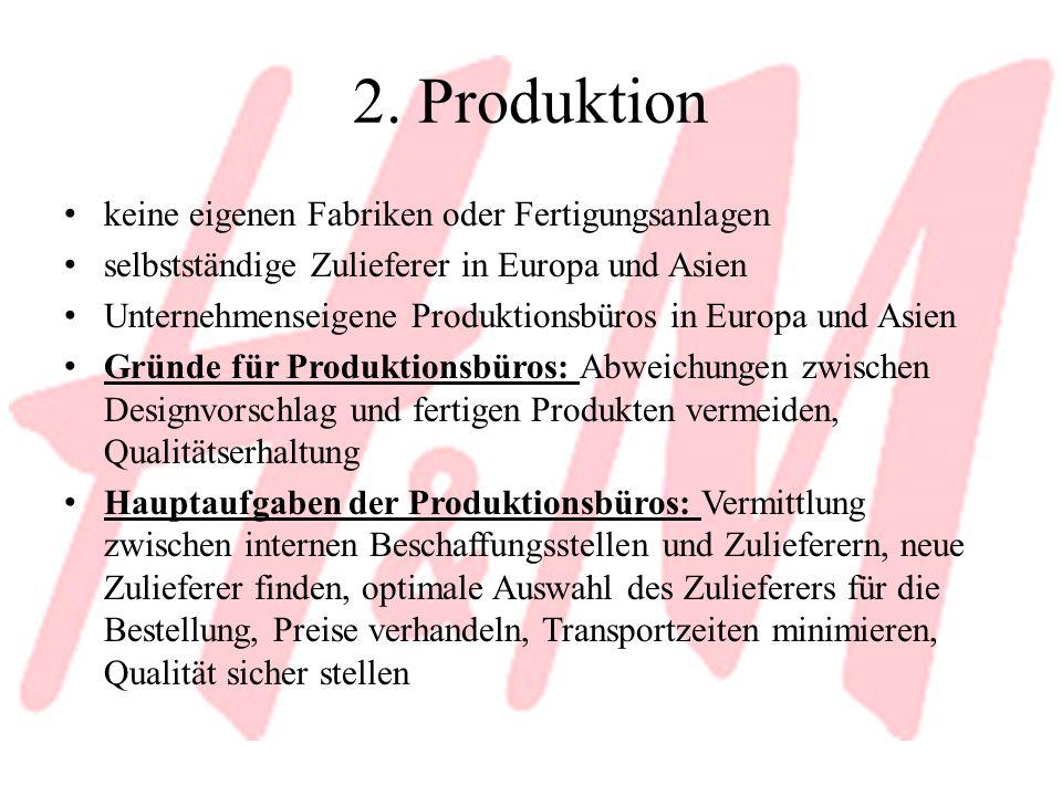 2. Produktion keine eigenen Fabriken oder Fertigungsanlagen selbstständige Zulieferer in Europa und Asien Unternehmenseigene Produktionsbüros in Europ