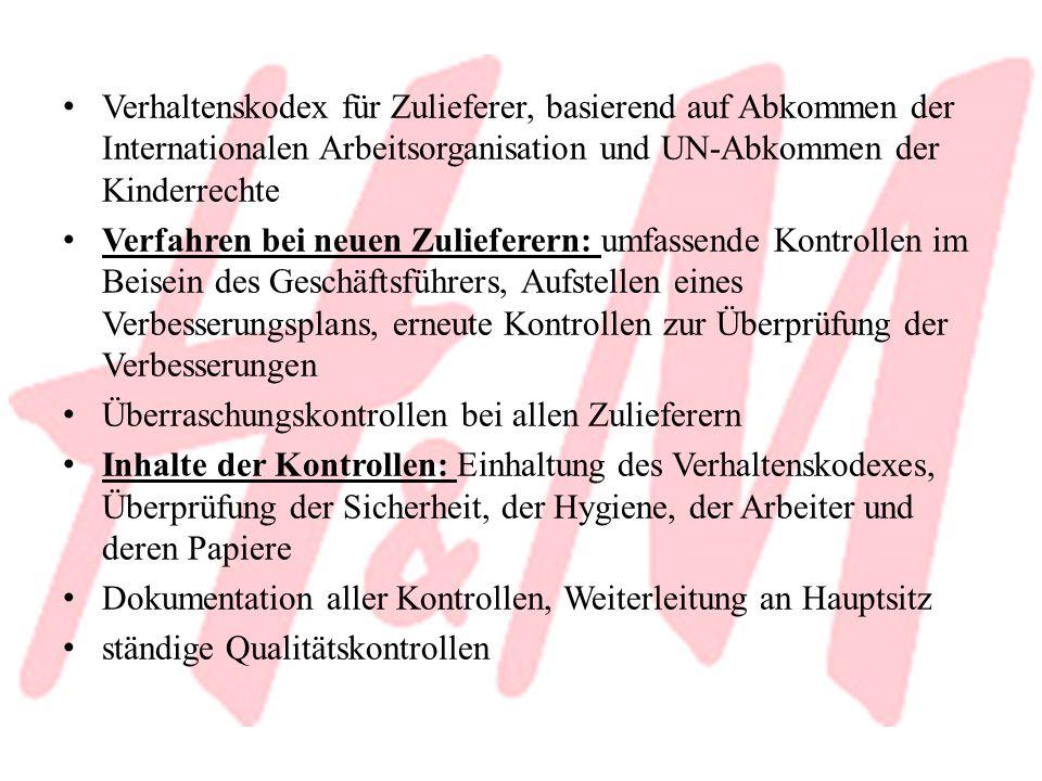 Verhaltenskodex für Zulieferer, basierend auf Abkommen der Internationalen Arbeitsorganisation und UN-Abkommen der Kinderrechte Verfahren bei neuen Zu